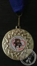 Berenjacht Medaille goudkleur met blauw halslint