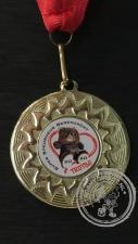 Berenjacht Medaille goudkleur met rood halslint