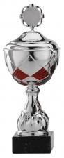 Sportbeker|Bokaal A4003 zilver met rood accent (serie van 12)