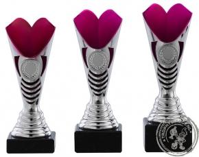 Sportprijs|Standaard A1073 zilver met roze accent (serie van 3)