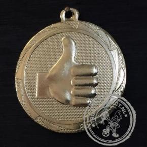 Duim omhoog Medaille goud met gravering of label